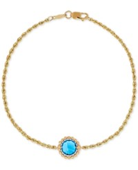 Macy's Blue Topaz Rope Chain Bracelet 1 3 8 Ct. T.W. In 14K Gold Yellow Gold