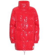 Calvin Klein Jeans Patent Puffer Jacket Red