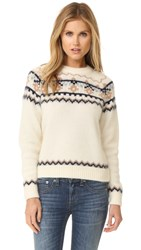 Demy Lee Daria Sweater White Navy Tobacco