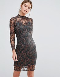 Body Frock Leah Sculpting Dress With Metallic Lace Bronze Brown