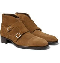 Tom Ford Sutherland Suede Monk Strap Boots Light Brown