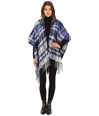 Echo Plaid Hooded Ruana Navy Women's Sweatshirt