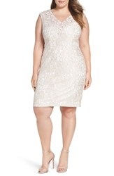 Alex Evenings Plus Size Women's Embellished Lace Sheath Dress Porcelain