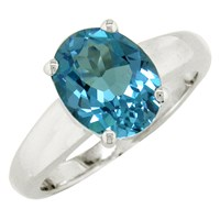 Ewa 9Ct White Gold Topaz Ring Blue