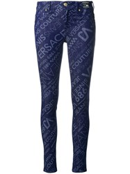 Versace Jeans All Over Logo Skinny Jeans Blue
