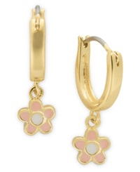 Lily Nily Children's 18K Gold Over Sterling Silver Earrings Pink Enamel Flower Drop Hoop Earrings