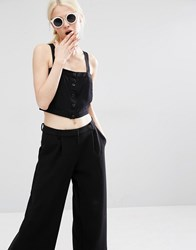 Monki Button Up Bralet Black