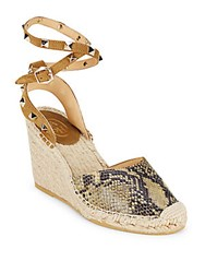 Ash Round Toe Leather Wedge Sandals Desert