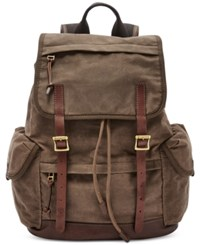 Fossil Men's Defender Canvas Rucksack Brown