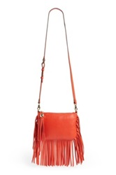 Dolce Vita 'Amber' Fringe Leather Crossbody Orange