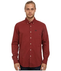 Rvca That'll Do Oxford L S Rosewood Men's Long Sleeve Button Up Red