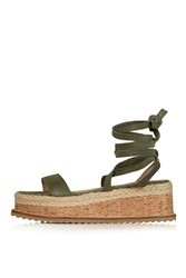 Topshop Wave Flatform Wedge Green