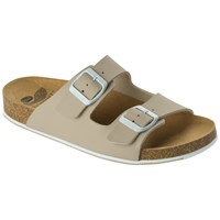 Scholl Spikey 2 Mule Sandals Beige White