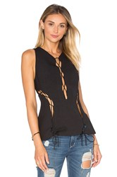 Kendall Kylie Lace Front Tank Black