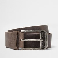 River Island Brown Distressed Leather Buckle Belt