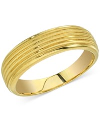 Esquire Men's Jewelry Ribbed Band In 14K Gold First At Macy's Yellow Gold