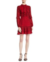 J. Mendel Long Sleeve Ruffled Leopard Print Silk Chiffon Cocktail Dress Red
