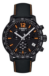 Tissot Men's Quickster Chronograph Leather Strap Watch 42Mm Black