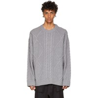 Juun.J Grey Cable Knit Sweater