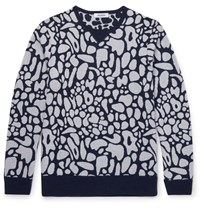 Tim Coppens Jacquard Knit Virgin Wool Sweater Gray