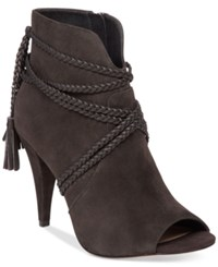 Vince Camuto Astan Braided Strap Booties Women's Shoes Charcoal Grey