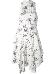 C Meo Collective Dot Print Plunge Dress Women Polyester Viscose L White