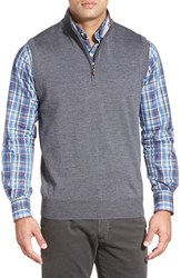 Men's Peter Millar Quarter Zip Merino Wool Vest Charcoal