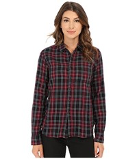 Joe's Jeans Madie Woven Shirt Black Red Plaid Women's Clothing