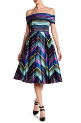 Nicole Miller New York Off The Shoulder Striped Fit And Flare Dress Multi