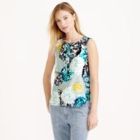 J.Crew Sleeveless Silk Shell In Aquatic Floral
