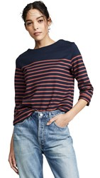 Petit Bateau Betro Stripe T Shirt Navy Orange