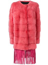 Yves Salomon Fringed Mink Fur Coat Pink And Purple