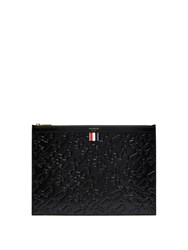 Thom Browne Embossed Leather Document Holder Black