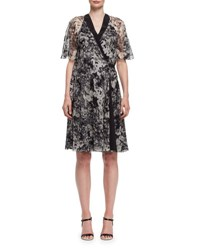 Lanvin Peony Print Chiffon Wrap Dress Black White Black White