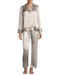 Josie Natori Silk Spread Color Pajama Set Beige