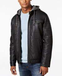 Sean John Men's Faux Leather Hooded Jacket Black