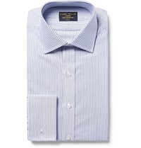 Emma Willis Blue Slim Fit Bengal Striped Cotton Oxford Shirt Blue