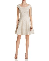 Betsey Johnson Metallic Brocade Dress Gold Ivory