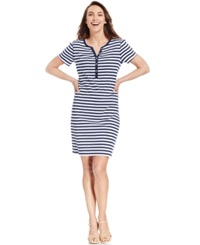 Karen Scott Striped Henley Dress Medieval Blue