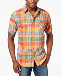 Weatherproof Men's Cotton Plaid Short Sleeve Shirt Medium Orange