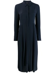 Les Copains Shirt Midi Dress Blue