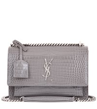 Saint Laurent Medium Sunset Monogram Embossed Leather Shoulder Bag Grey