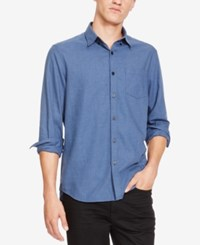 Kenneth Cole New York Men's Button Down Chambray Shirt Blue