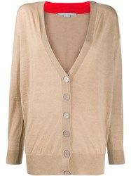 Stella Mccartney V Neck Contrasting Collar Cardigan Neutrals