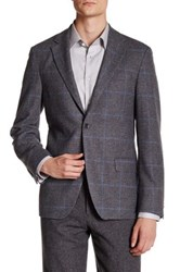 Ike Behar Grey Plaid Double Button Notched Lapel Jacket Gray