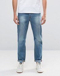 Asos Slim Jeans In Mid Wash Blue Mid Blue