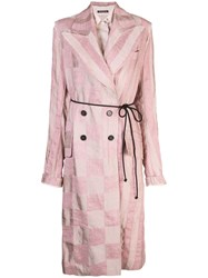 Ann Demeulemeester Checked Print Coat Pink