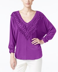 Ny Collection Crochet Fringe Trim Peasant Top Amarnath Purple