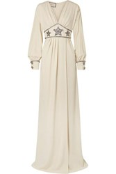 Gucci Crystal Embellished Wrap Effect Georgette Gown Ivory