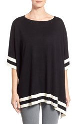 Nordstrom Border Stripe Silk And Cashmere Poncho Black